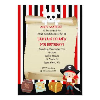 男の子の海賊誕生日の招待状 カード