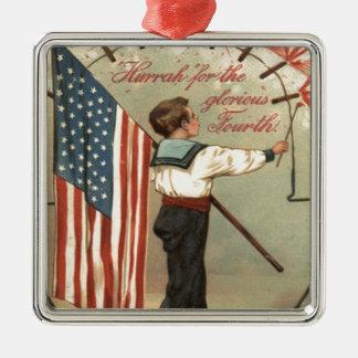 男の子の爆竹の花火米国の旗 メタルオーナメント