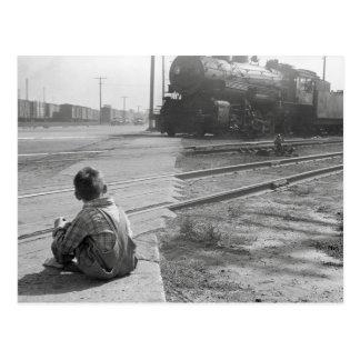 男の子の監視列車1939年 ポストカード