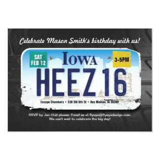 男の子の第16誕生日のアイオワ免許証の招待状 カード