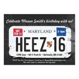 男の子の第16誕生日のメリーランド免許証の招待状 カード