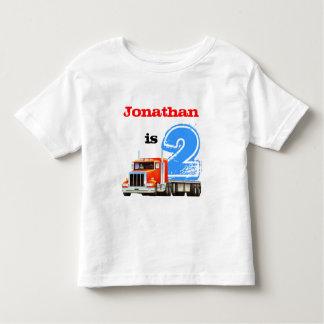 男の子の第2誕生日の赤のトラック トドラーTシャツ