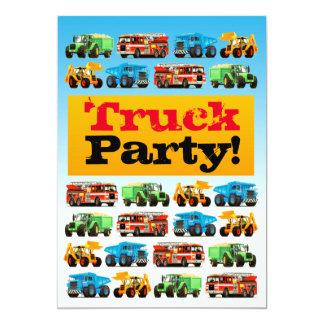 男の子の第3誕生日の建築のトラックのパーティー カード