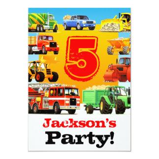 男の子の第5誕生日の建築のトラックのパーティー カード