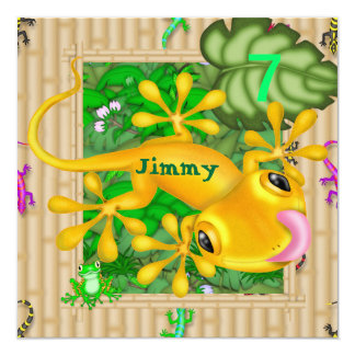 男の子の第6誕生日のヤモリの招待状 カード