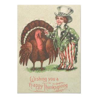 男の子の米国市民感謝祭トルコ カード