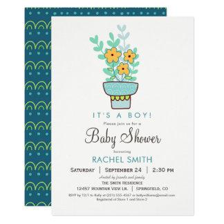 男の子の花のベビーシャワーの招待状 カード