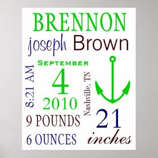 男の子の誕生Stats ポスター