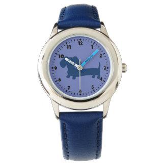 男の子の青いダックスフントの革ウインナー犬の腕時計 腕時計