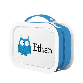 男の子の青いフクロウのシェブロンのランチボックス ランチボックス