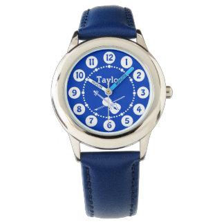 男の子の青い一流のバイオリン音楽腕時計 腕時計