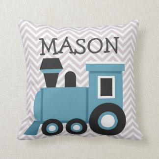 男の子の青い列車の名前入りな枕 クッション