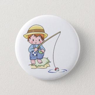 男の子の青い魚釣り 5.7CM 丸型バッジ