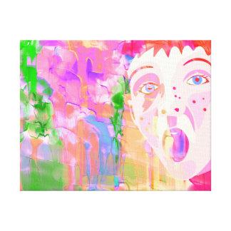 男の子の顔を搭載するカラフルな水彩画の絵画 キャンバスプリント