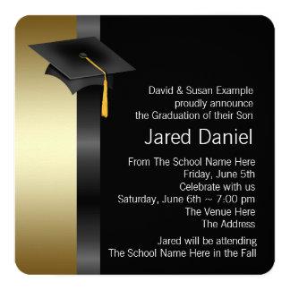 男の子の黒および金ゴールドの卒業の発表 カード