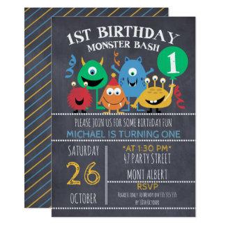 男の子の黒板モンスターの第1誕生日の招待状 カード