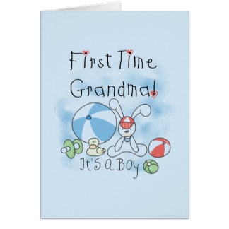 男の子のTシャツおよびギフトの初めての祖母 カード