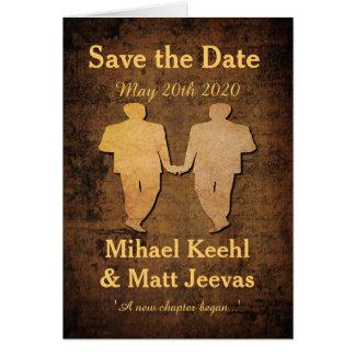 男の子は男の子の保存に日付のNotecardの陽気な結婚式会います カード