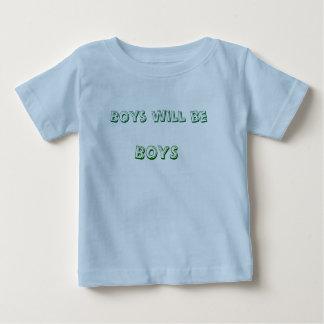 男の子は、男の子あります ベビーTシャツ