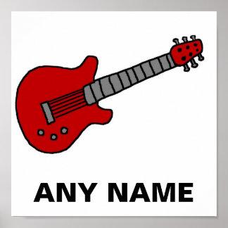男の子または女の子のためのカスタマイズギターのワイシャツ ポスター