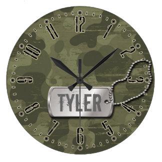 男の子または女の子のカムフラージュのPersonalizableの柱時計 ラージ壁時計