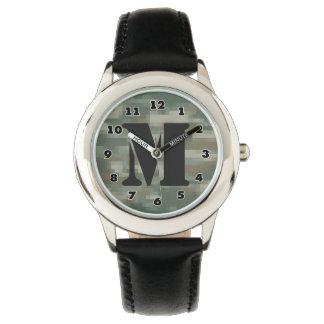 男の子ピクセルカムフラージュの腕時計|はモノグラムを個人化します 腕時計