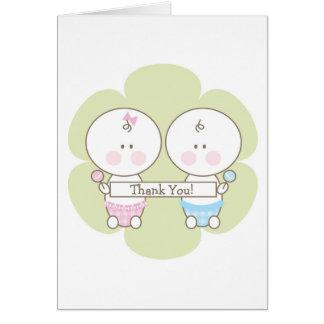 男の子及び女の子の双生児のサンキューカード カード