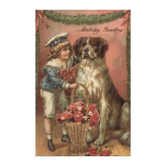 男の子犬バラのバスケットの誕生日 キャンバスプリント