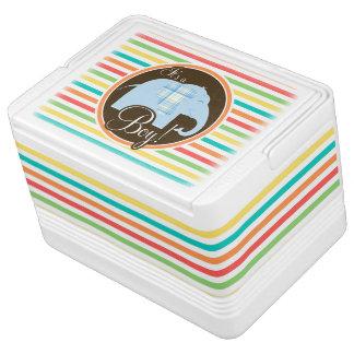 男の子象は、明るい虹縞で飾ります 缶クーラー