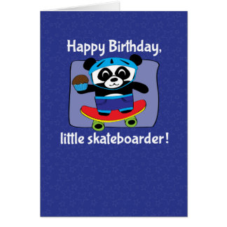 男の子-レッサーパンダのスケートボーダーのための誕生日 グリーティングカード