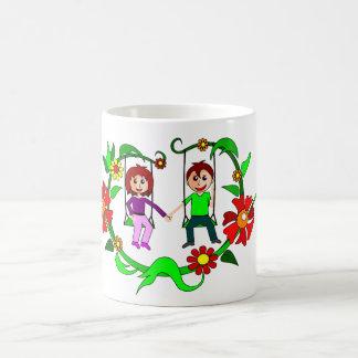 男の子、女の子、振動 コーヒーマグカップ