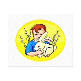 男の子wのウサギの黄色oval.png キャンバスプリント