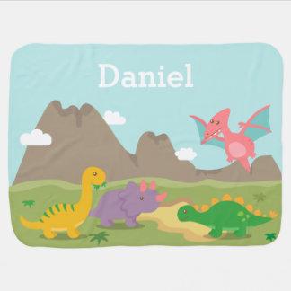 男の赤ちゃんのためのかわいくカラフルな恐竜 ベビー ブランケット