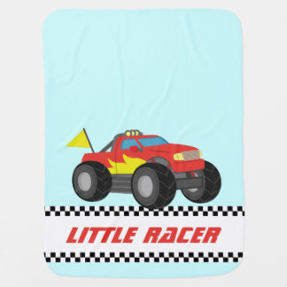 男の赤ちゃんのための赤いモンスタートラックを、競争させます ベビー ブランケット