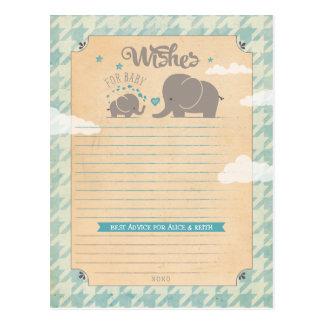 男の赤ちゃんのための願い-象のアドバイスカード ポストカード