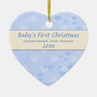男の赤ちゃんの初めてのクリスマスのオーナメント セラミックオーナメント