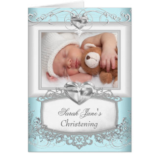 男の赤ちゃんの女の子の青い《キリスト教》洗礼式や命名式の洗礼ありがとう カード