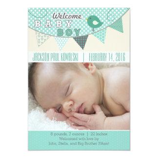 男の赤ちゃんの旗の写真の誕生の発表 カード