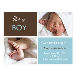 男の赤ちゃんの発表の郵便はがき ポストカード