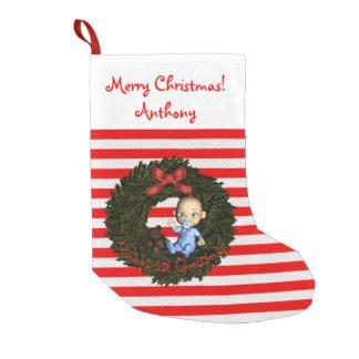 男の赤ちゃんの第1クリスマス スモールクリスマスストッキング
