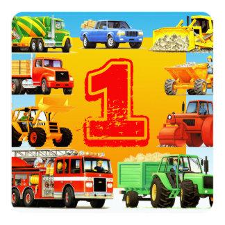 男の赤ちゃんの第1誕生日の建築のトラックのパーティー カード