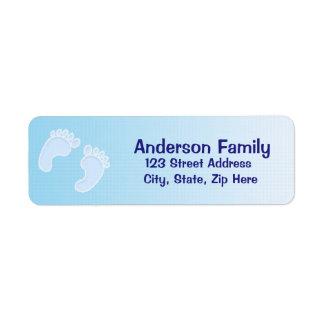男の赤ちゃんの足跡の青の宛名ラベル ラベル