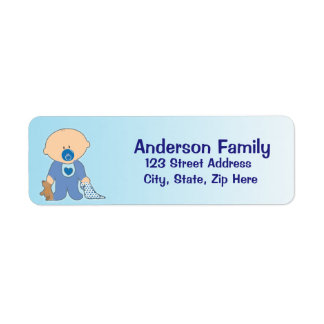 男の赤ちゃんのBlankieの青の宛名ラベル 返信用宛名ラベル