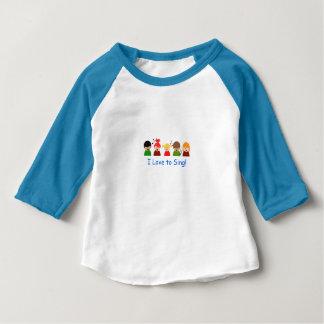 """男の赤ちゃんのTシャツ- """"私は""""イメージを歌うことを愛します ベビーTシャツ"""