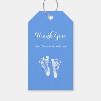 男の赤ちゃんはかわいく青く生まれたばかりのな足跡感謝していしています ギフトタグ