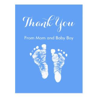 男の赤ちゃんはかわいく青く生まれたばかりのな足跡感謝していしています ポストカード