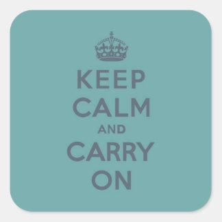 男らしいティール(緑がかった色)のKeep Calm and Carry Onの石板 スクエアシール