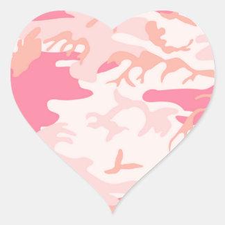 男らしいピンクの迷彩柄 ハートシール
