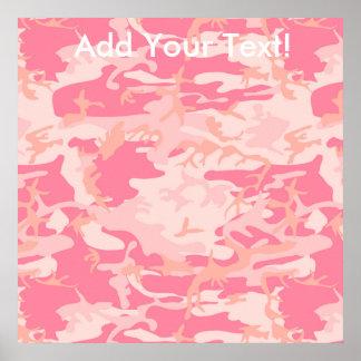 男らしいピンクの迷彩柄 ポスター