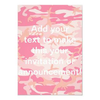 男らしいピンクの迷彩柄 12.7 X 17.8 インビテーションカード
